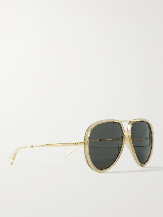 GUCCI Aviator-Style Acetate and Gold-Tone Sunglasses