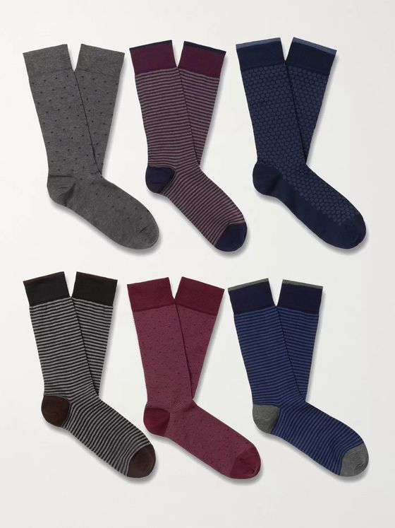 MARCOLIANI Six-Pack Cotton-Blend Socks