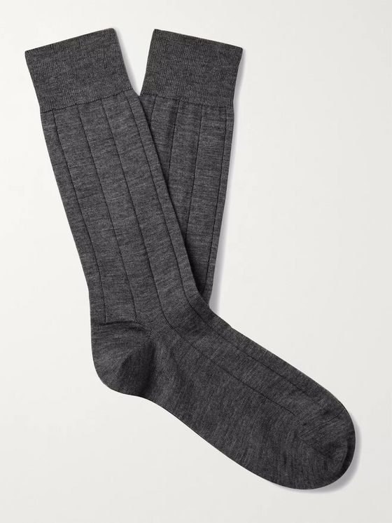 MARCOLIANI Ribbed Mélange Cashmere-Blend Socks