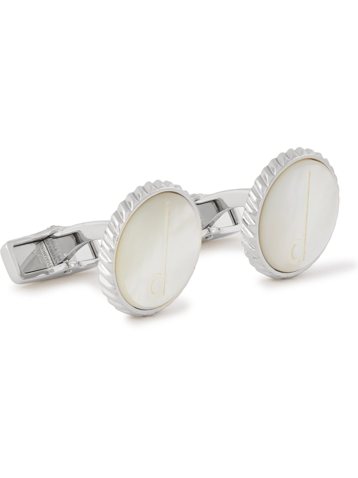 Dunhill Engraved Mother-of-pearl And Steel Cufflinks In Silver