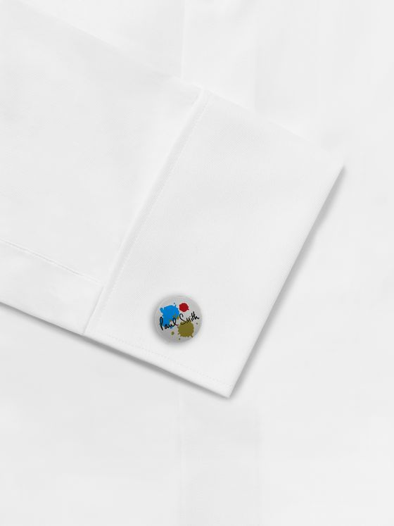 PAUL SMITH Paint Splash Silver-Tone and Enamel Cufflinks