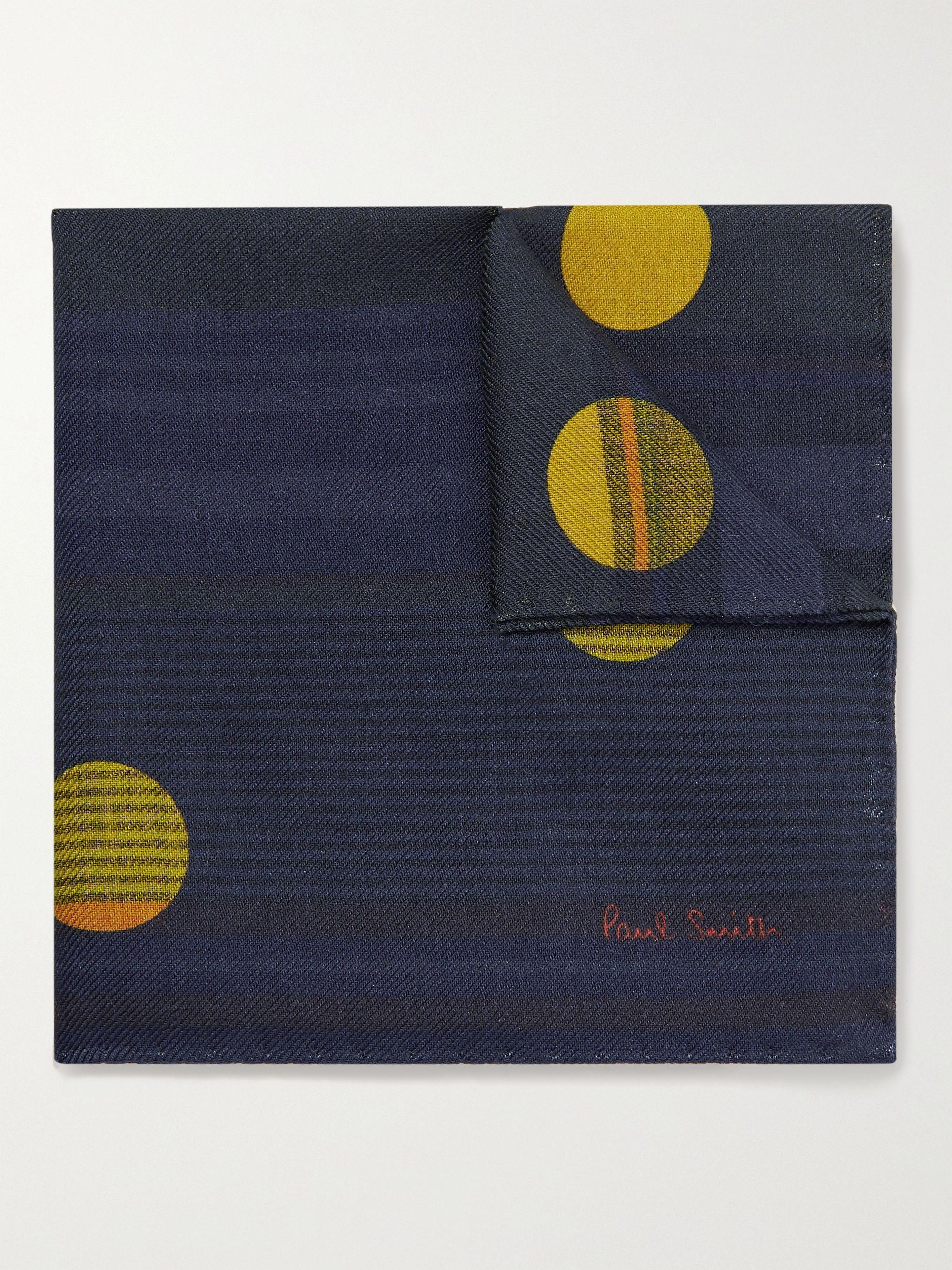 폴 스미스 포켓 스퀘어 Paul Smith Printed Wool and Silk-Blend Pocket Square,Blue