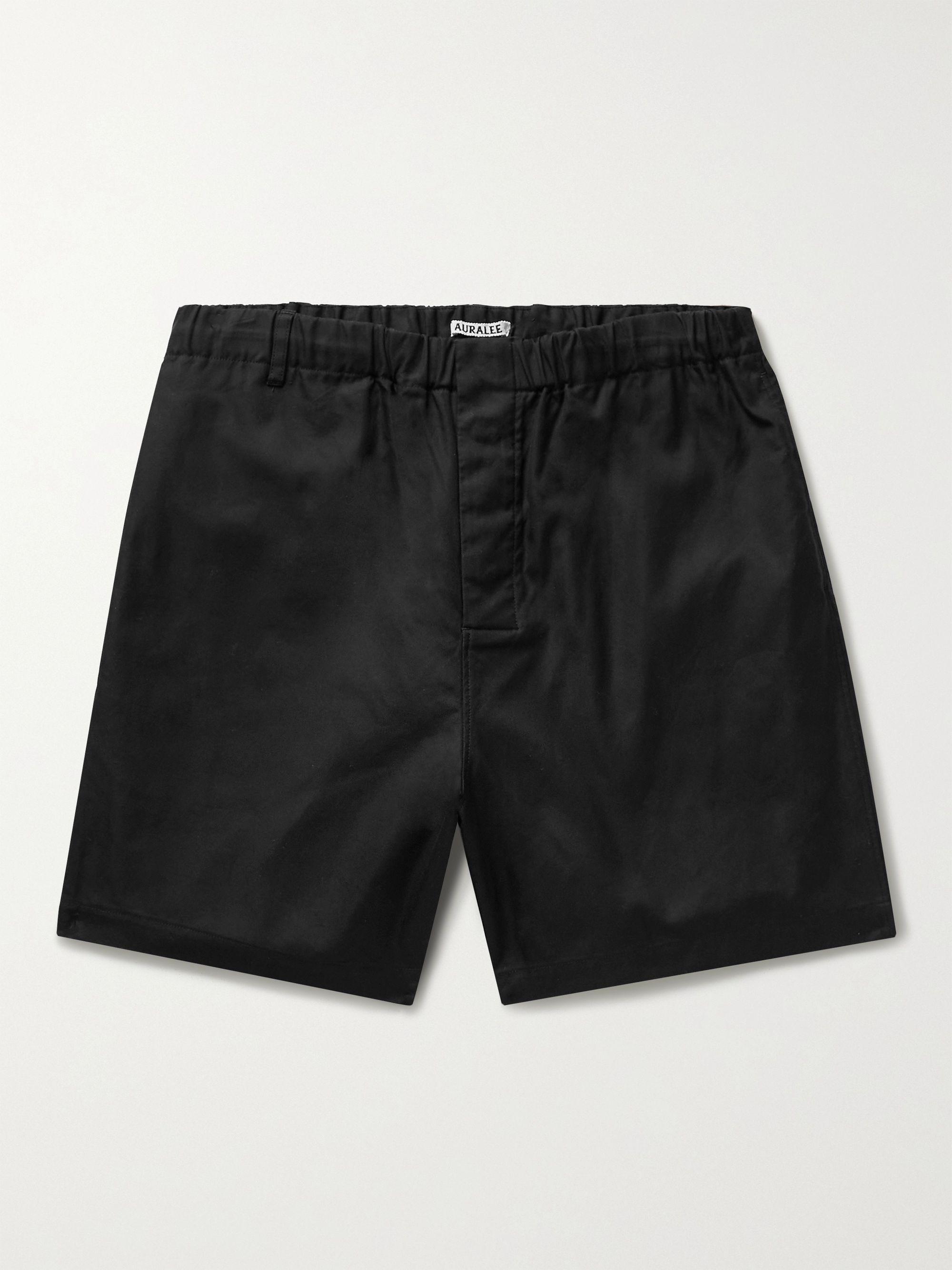 오라리 반바지 AURALEE Finx Shuttle Cotton Oxford Shorts,Black
