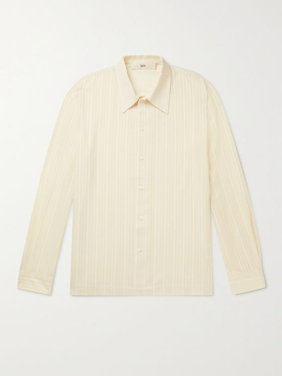 SÉFR Ripley Embroidered Cotton-Blend Seersucker Shirt