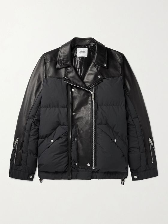 UNDERCOVER + Sacai Printed Leather-Panelled Quilted Shell Jacket