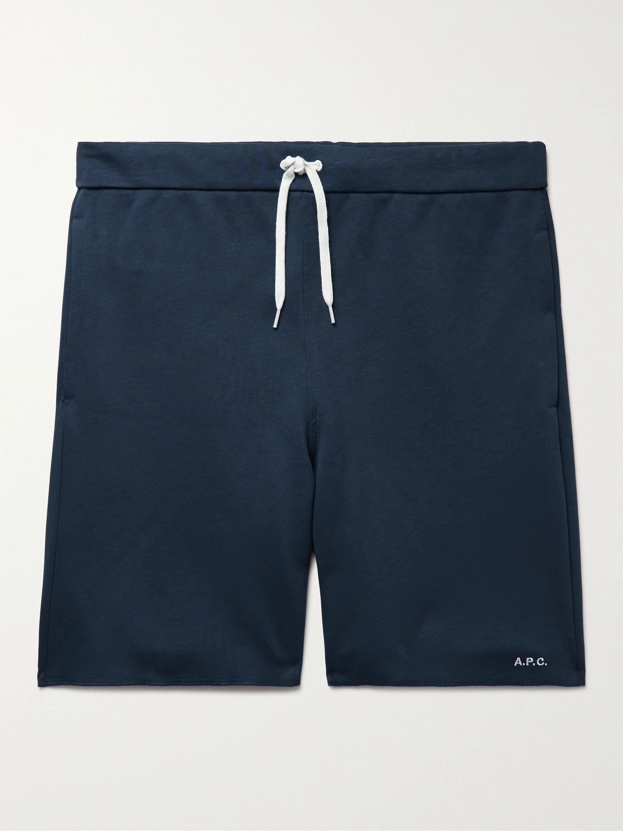아페쎄 A.P.C. Logo-Embroidered Cotton-Jersey Drawstring Shorts,Midnight blue