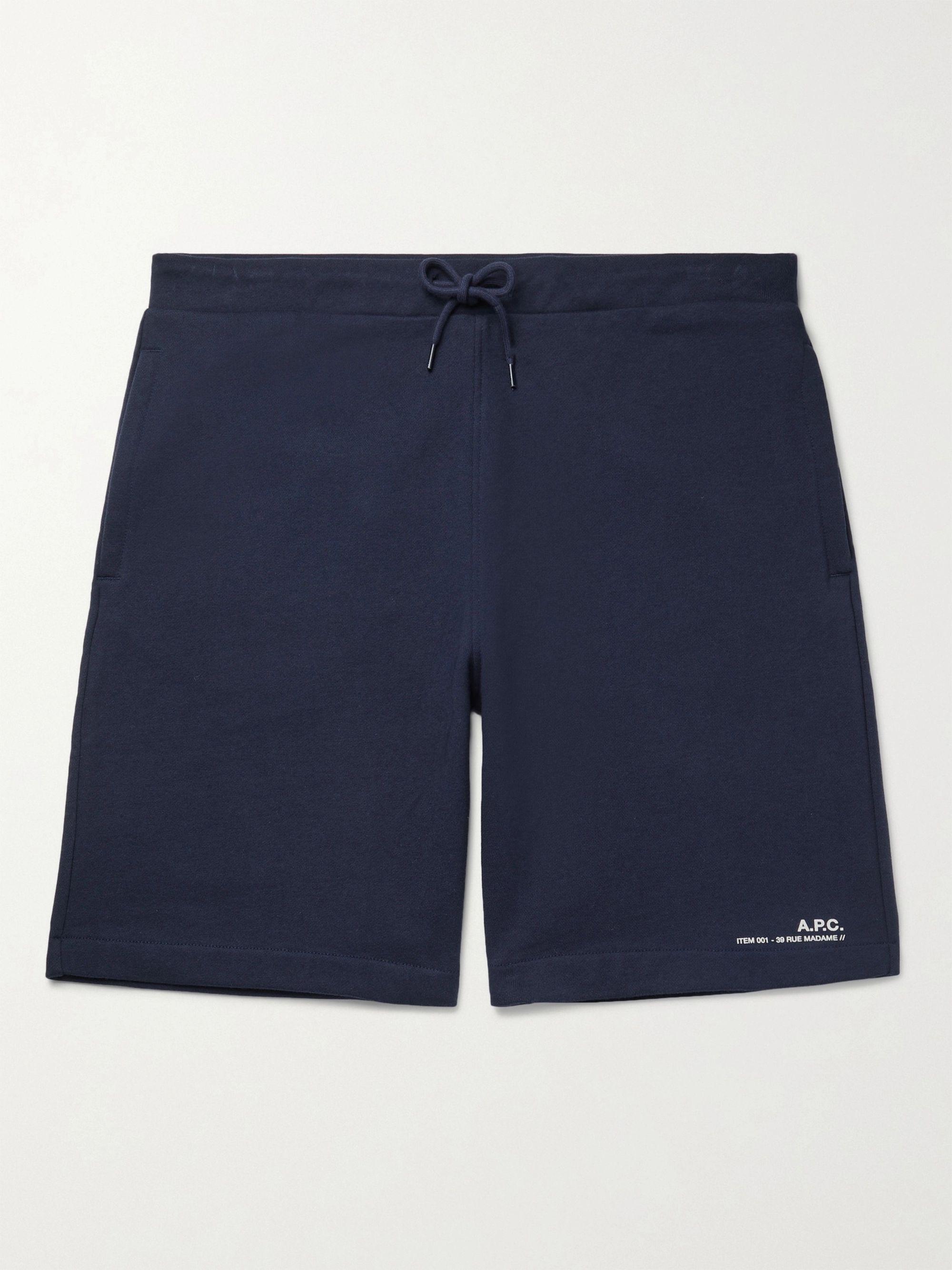 아페쎄 A.P.C. Logo-Print Fleece-Back Cotton-Jersey Drawstring Shorts,Navy