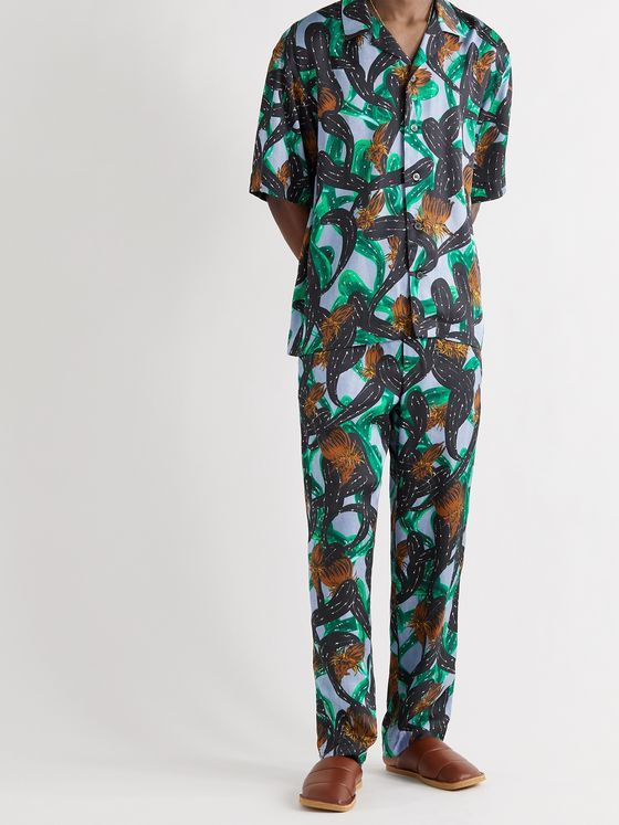DRIES VAN NOTEN Printed Woven Drawstring Trousers