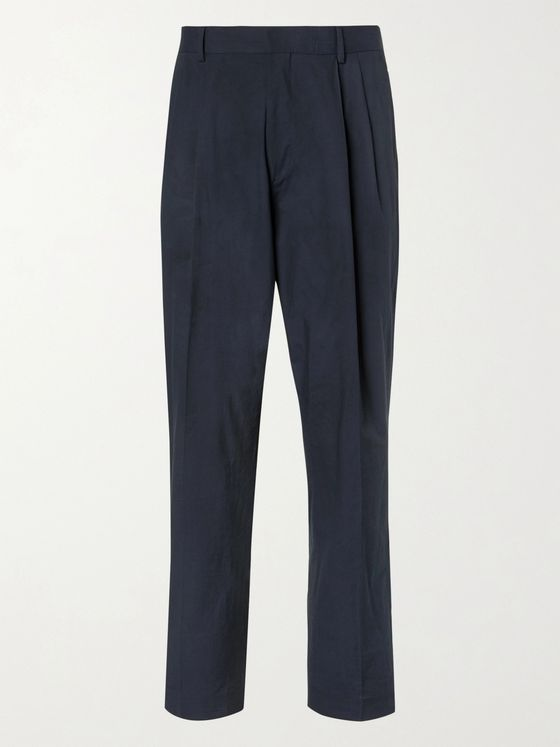 DRIES VAN NOTEN Tapered Pleated Cotton Suit Trousers