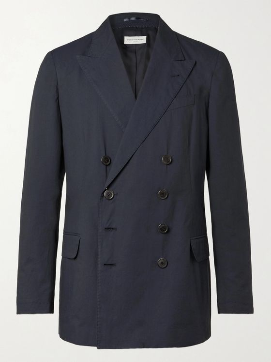 DRIES VAN NOTEN Double-Breasted Cotton Suit Jacket