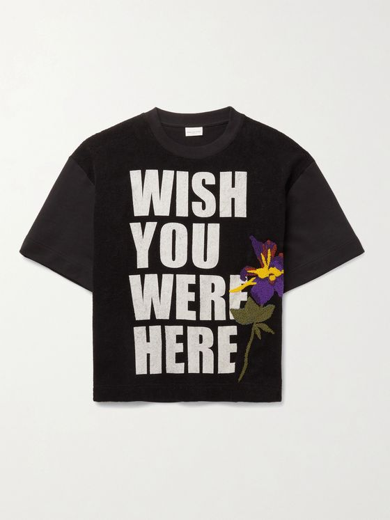 DRIES VAN NOTEN Printed Cotton-Terry T-Shirt