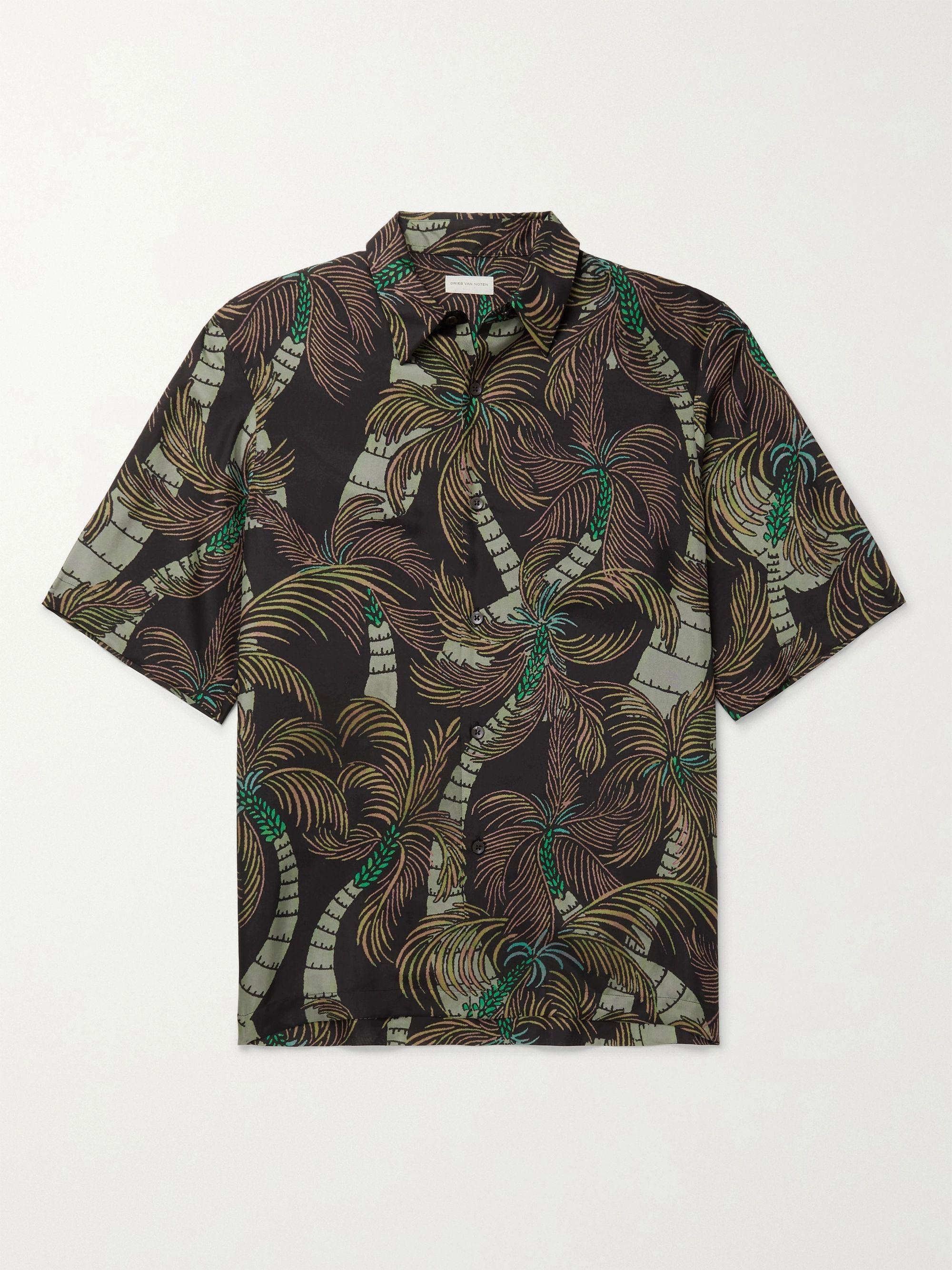 Dries Van Noten Printed Silk Shirt,Brown