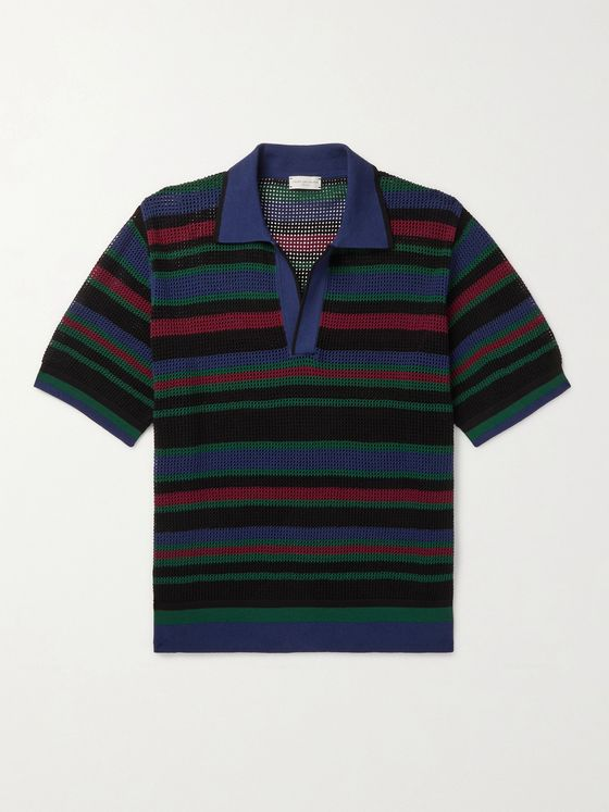DRIES VAN NOTEN Slim-Fit Striped Open-Knit Polo Shirt