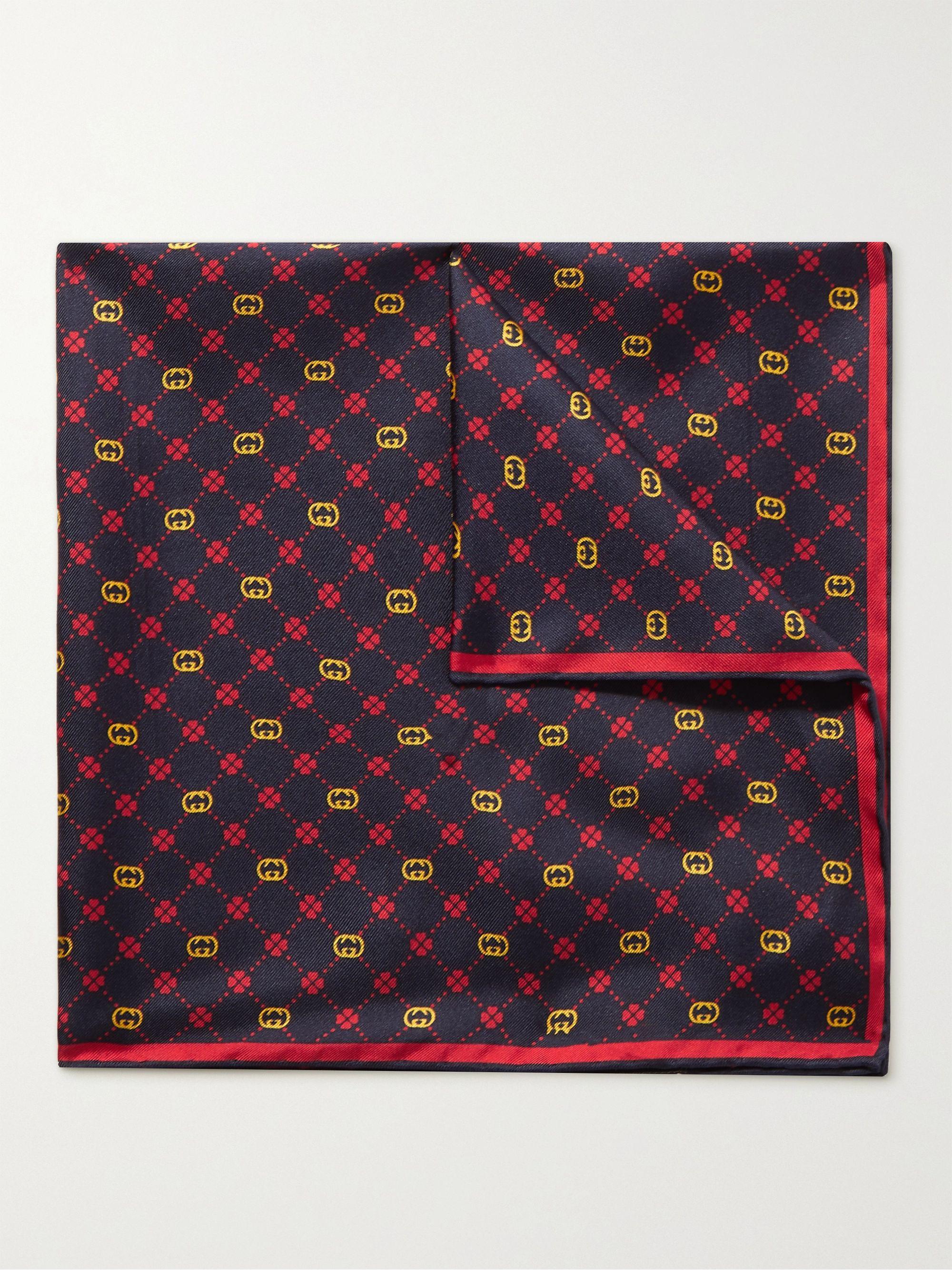 구찌 포켓 스퀘어 Gucci Printed Silk-Twill Pocket Square,Navy