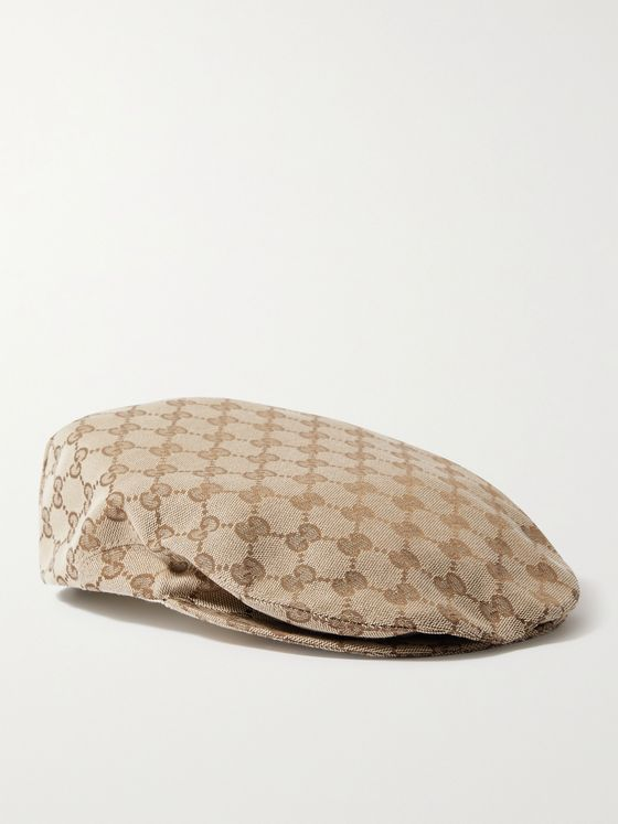 GUCCI Appliquéd Logo-Jacquard Cotton-Blend Canvas Flat Cap