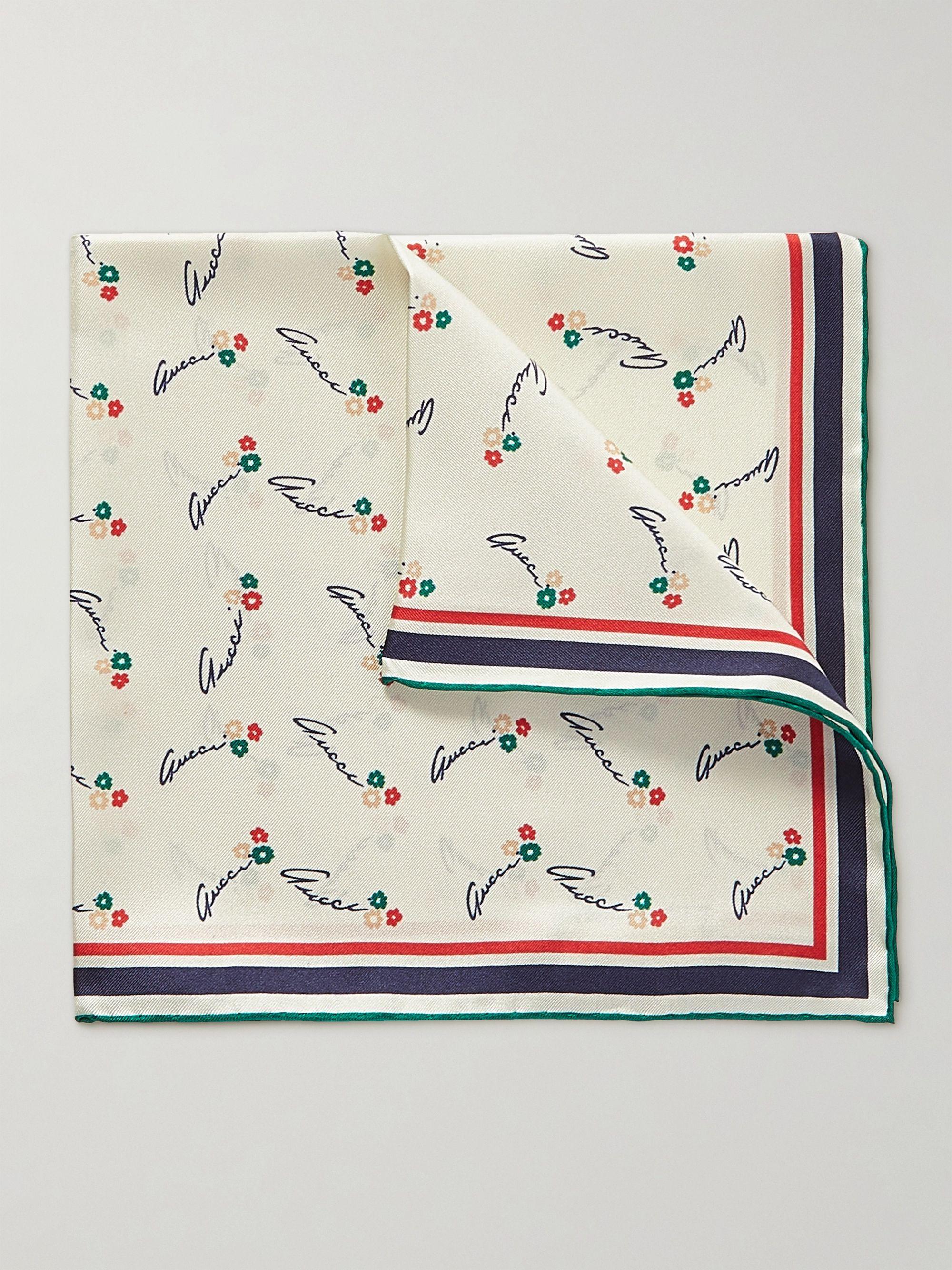 구찌 포켓 스퀘어 Gucci Printed Silk-Twill Pocket Square,White