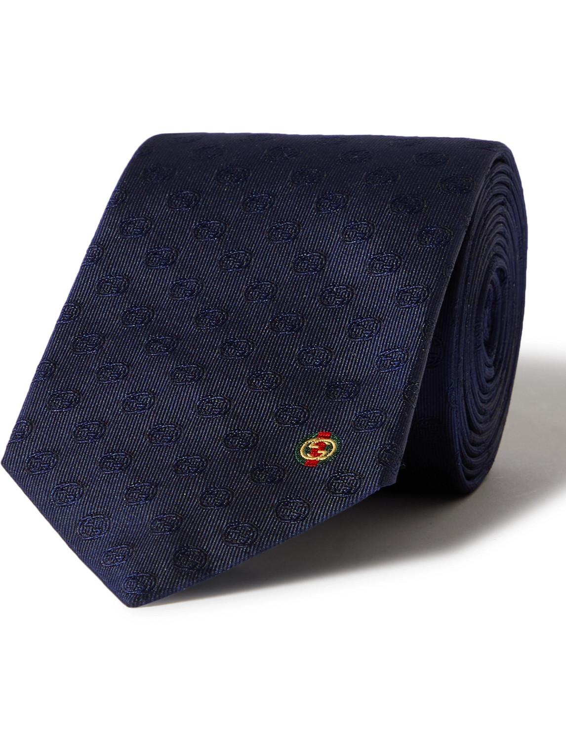 Gucci 7cm Logo-jacquard Silk Tie In Blue