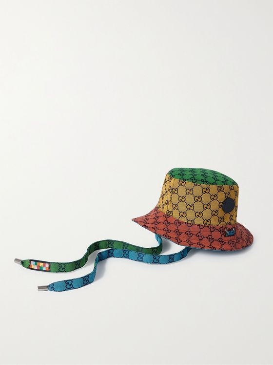 GUCCI Reversible Leather-Trimmed Logo-Jacquard Cotton-Blend Canvas Bucket Hat