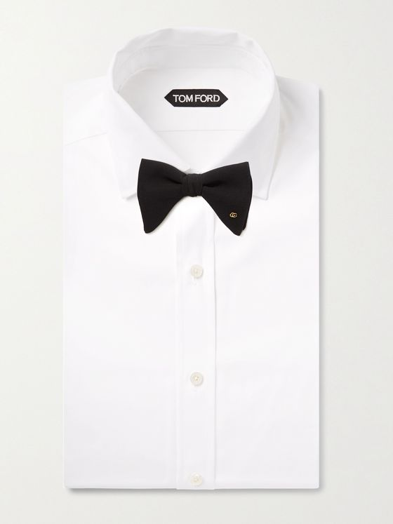 GUCCI Pre-Tied Logo-Embellished Silk Crepe De Chine Bow Tie