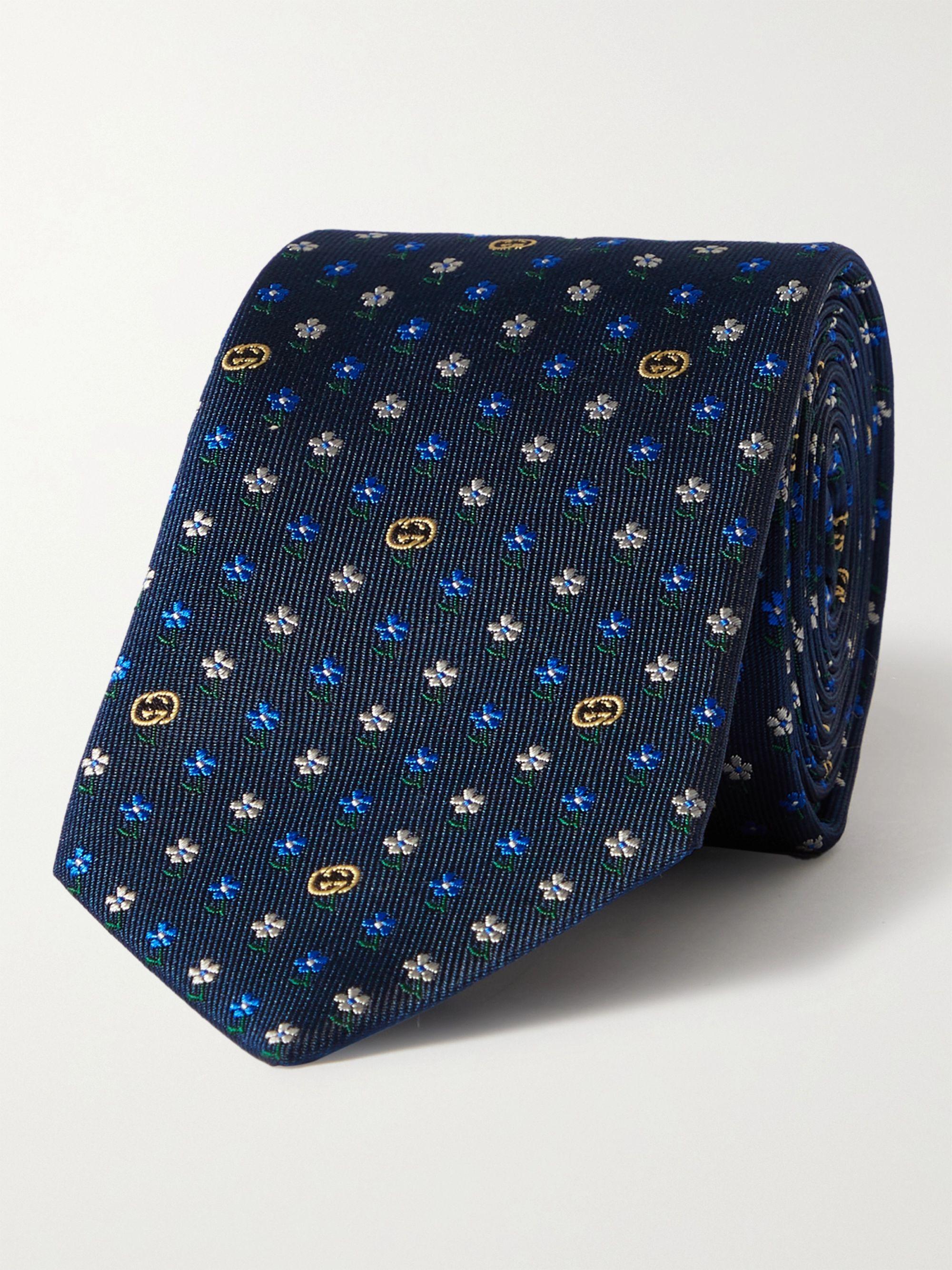 구찌 넥타이 Gucci 7cm Silk-Jacquard Tie,Blue