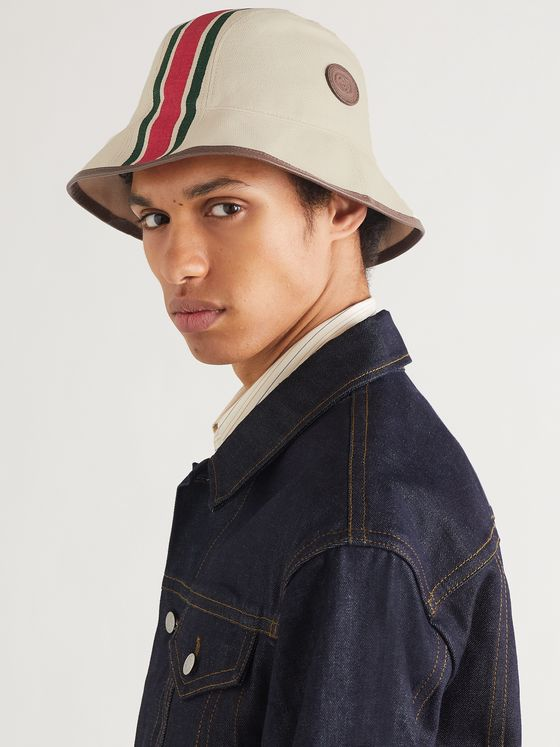 GUCCI Leather-Trimmed Striped Linen-Canvas Bucket Hat