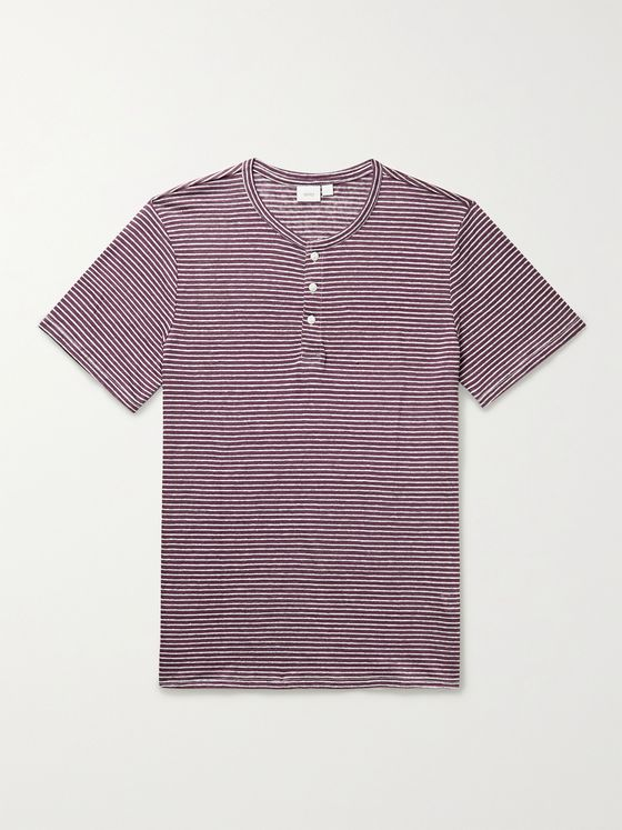 ONIA Elliot Striped Linen-Jersey Henley T-Shirt
