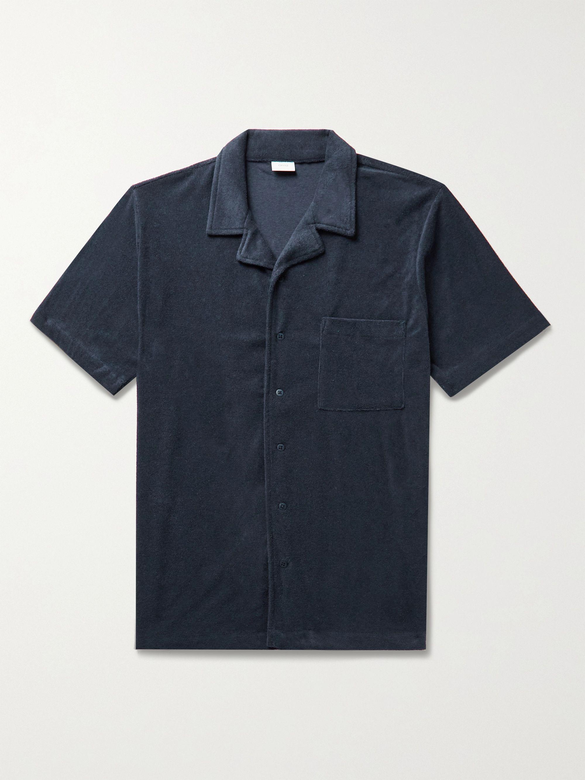 ONIA Camp-Collar Cotton-Blend Terry Shirt,Storm blue