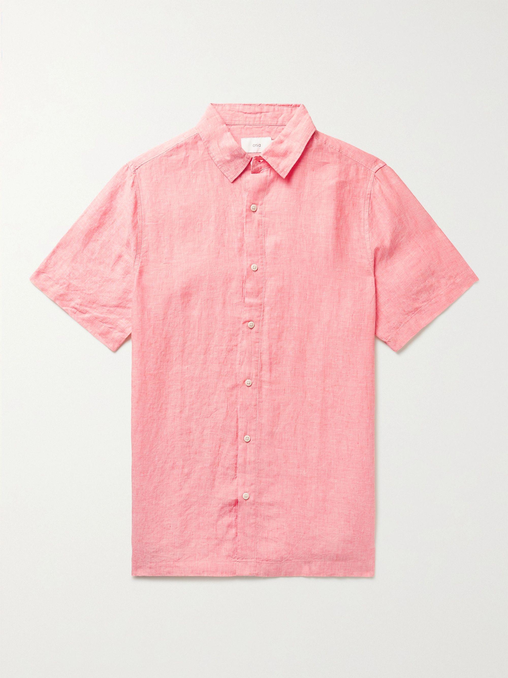 ONIA Samuel Linen-Chambray Shirt,Pink