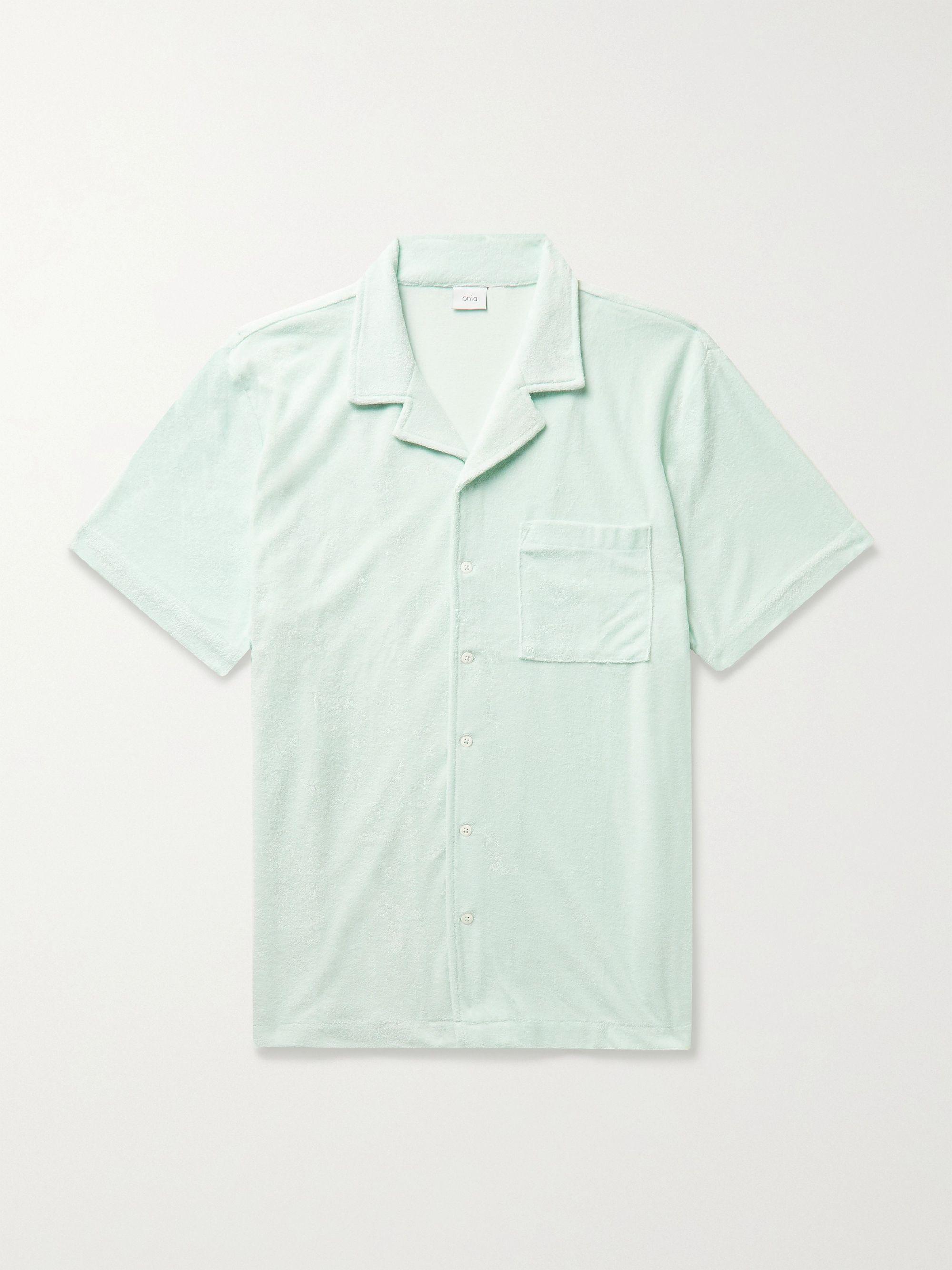 ONIA Camp-Collar Cotton-Blend Terry Shirt,Light blue