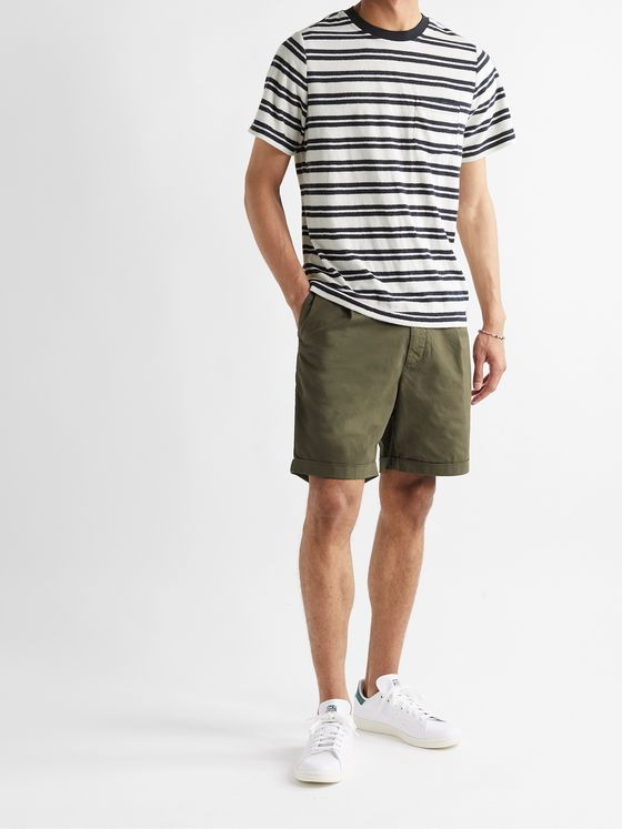 ONIA Macro Towel Striped Cotton-Blend Terry T-Shirt