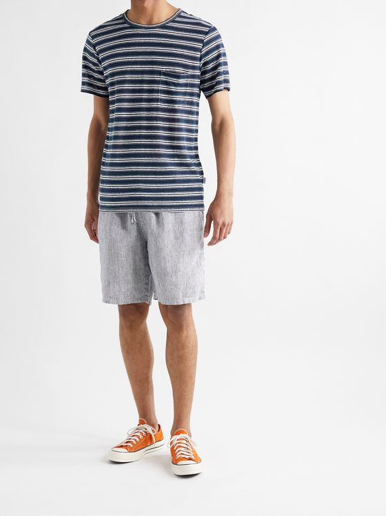 ONIA Chad Striped Linen T-Shirt