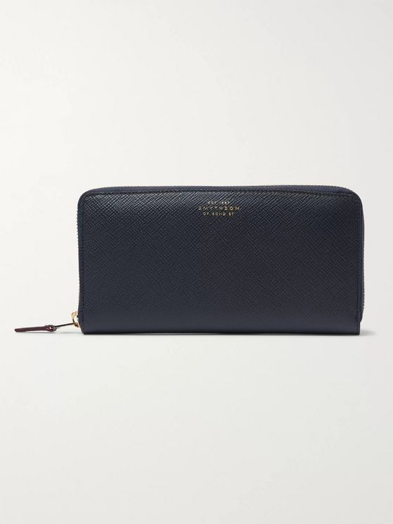 Smythson Panama Cross-Grain Leather Zip-Around Wallet