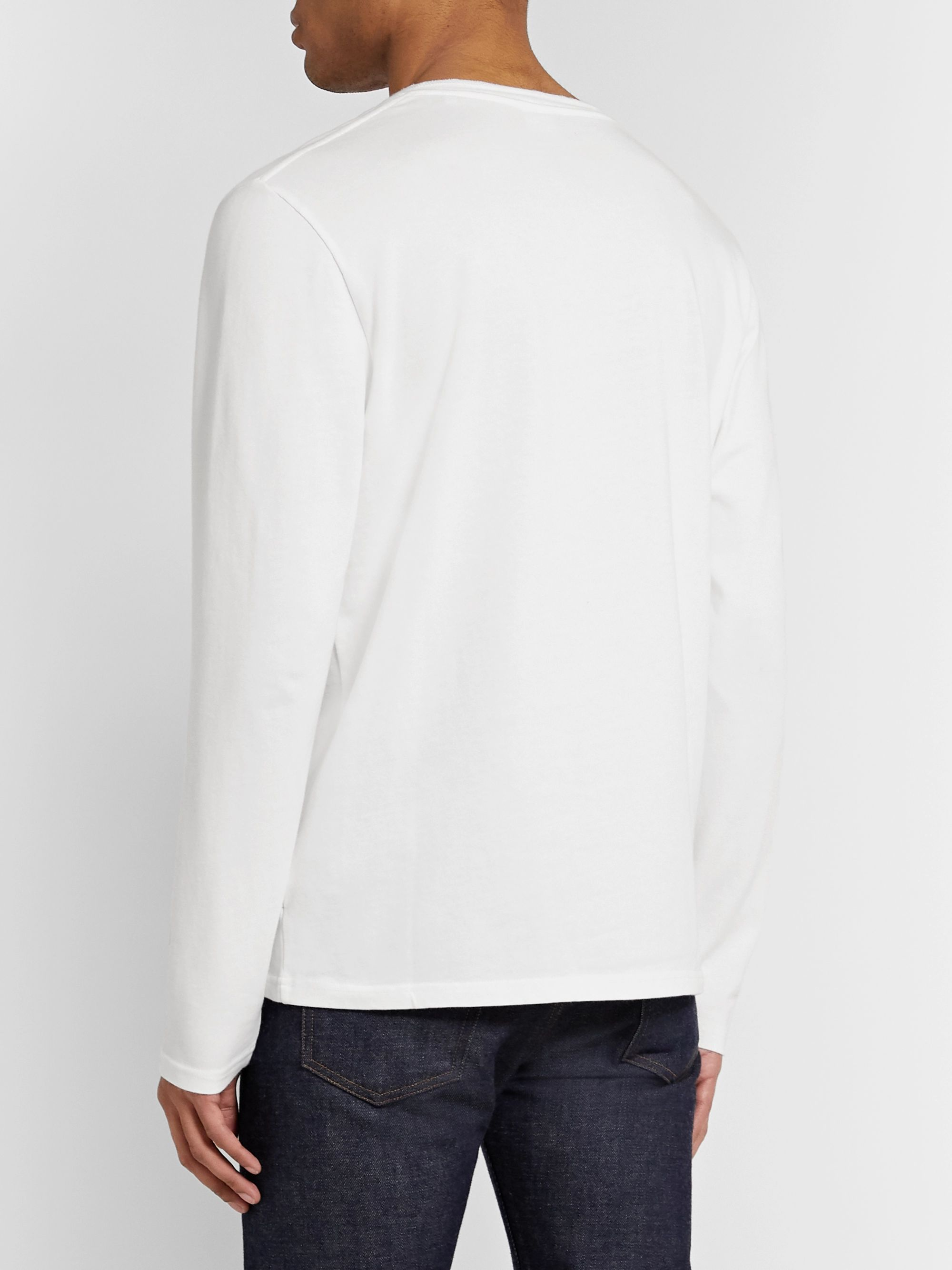 NN07 David Mélange Cotton-Jersey Henley T-Shirt