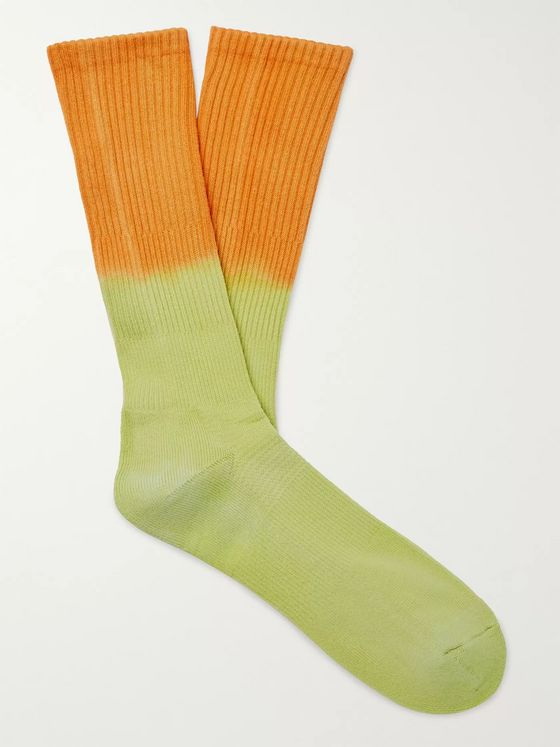 Mr P. Tie-Dyed Ribbed Cotton-Blend Socks