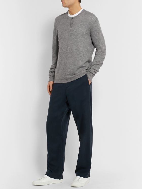 James Perse Mélange Cashmere Henley Sweater