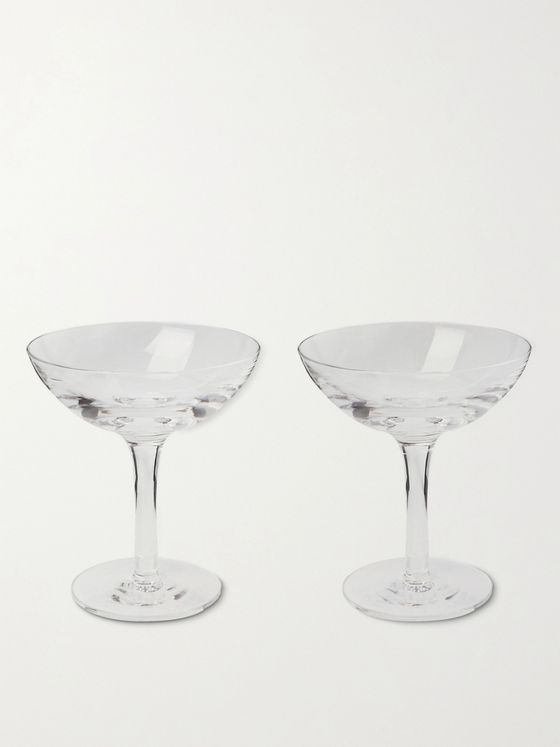 KINGSMAN + Higgs & Crick Set of Two Crystal Champagne Coupes