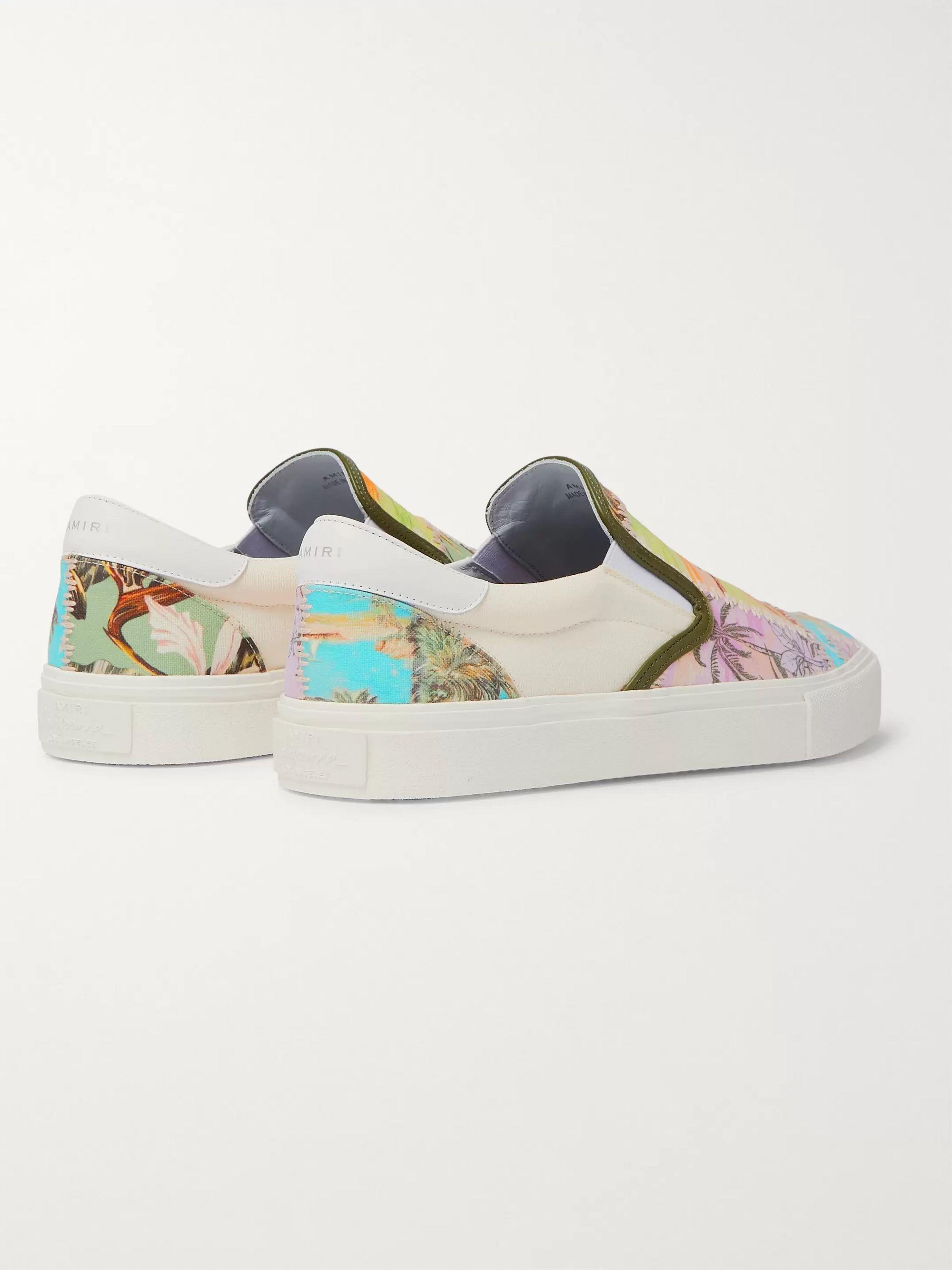 Purple Leather-trimmed Printed Canvas Slip-on Sneakers | Amiri