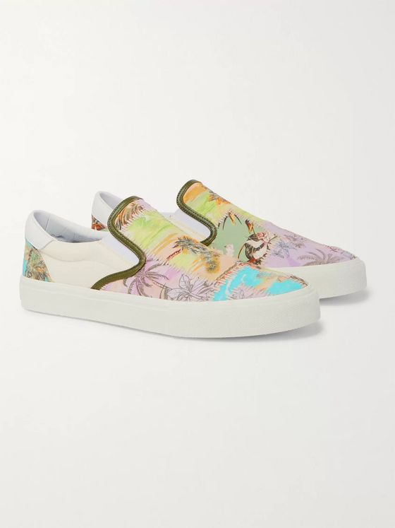 AMIRI Leather-Trimmed Printed Canvas Slip-On Sneakers