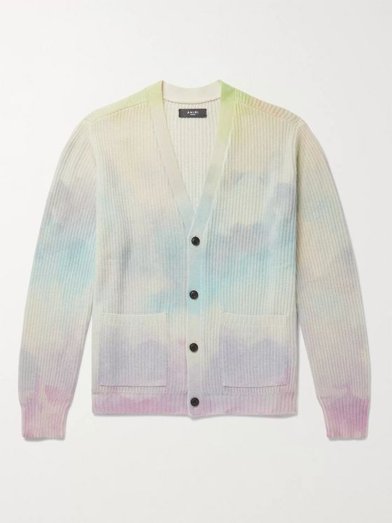 AMIRI Ribbed Tie-Dyed Cashmere-Blend Cardigan