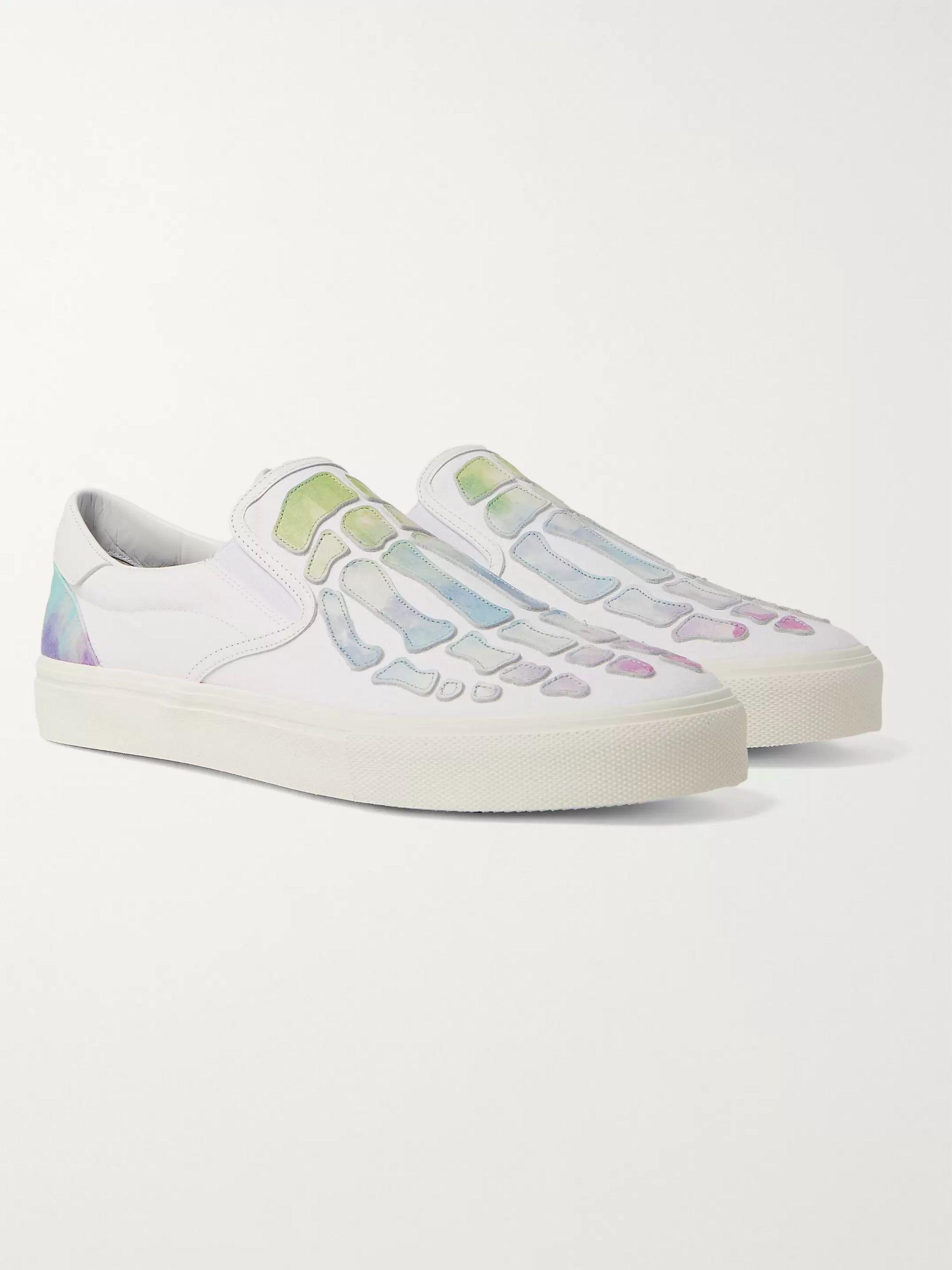 아미리 Amiri Skel Toe Tie-Dyed Leather-Appliqued Canvas Slip-On Sneakers,White