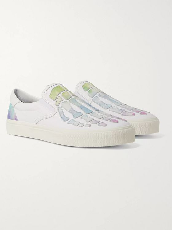 AMIRI Skel Toe Tie-Dyed Leather-Appliquéd Canvas Slip-On Sneakers