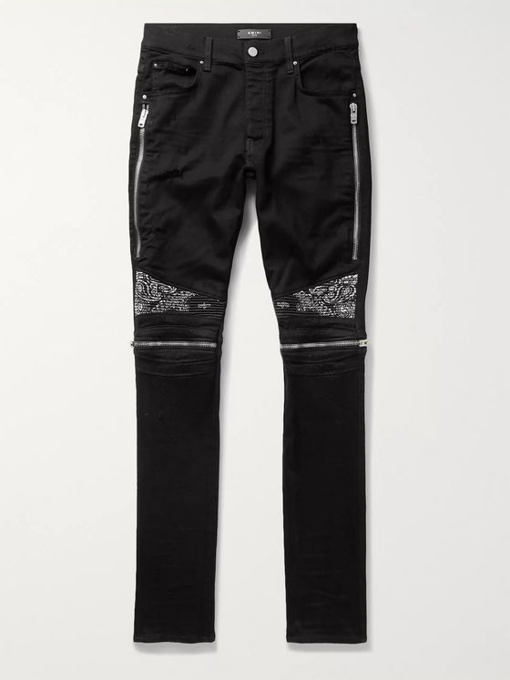 AMIRI MX2 Skinny-Fit Panelled Distressed Stretch-Denim Jeans