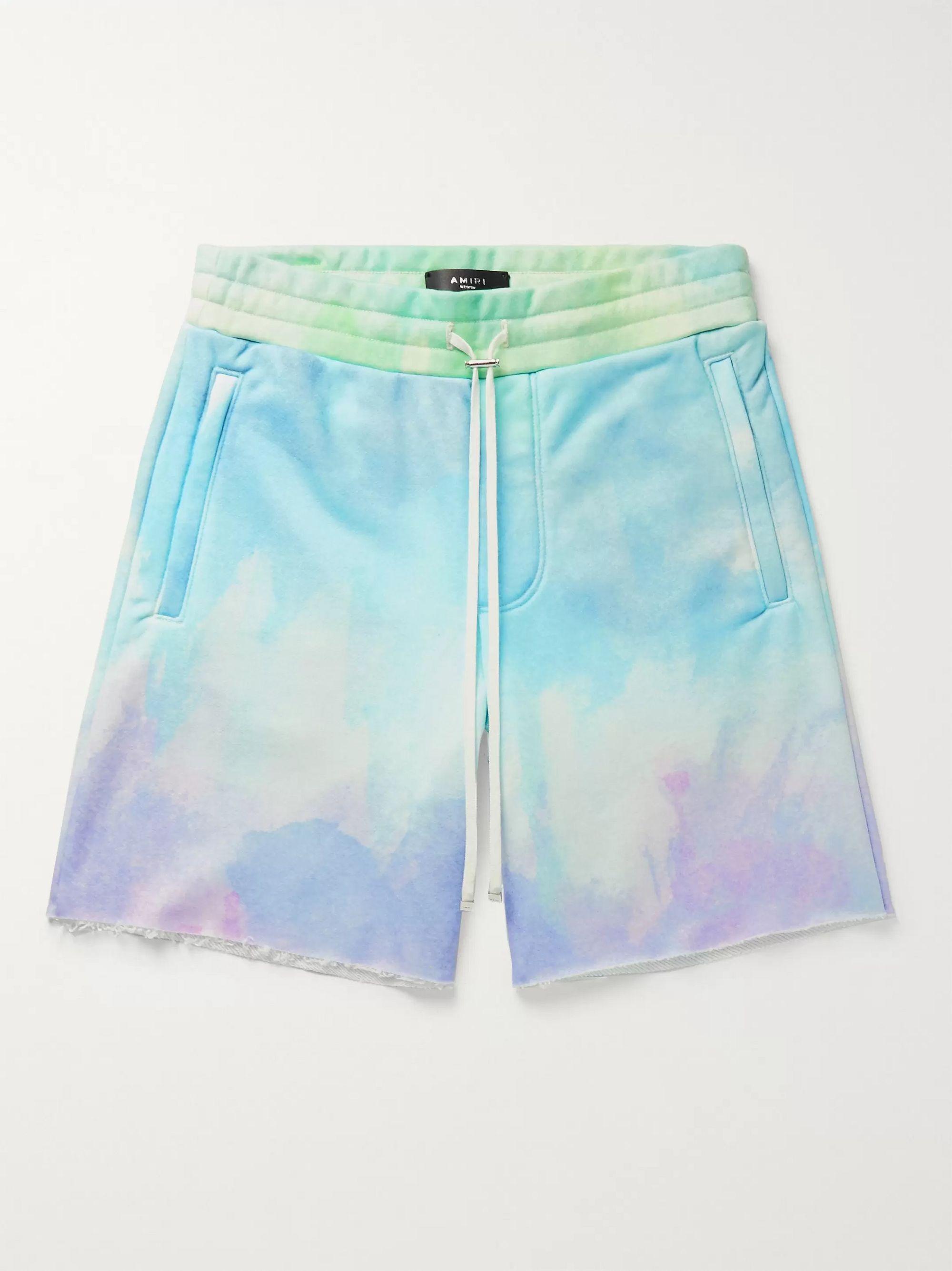 아미리 Amiri Tie-Dyed Loopback Jersey Drawstring Shorts,Multi