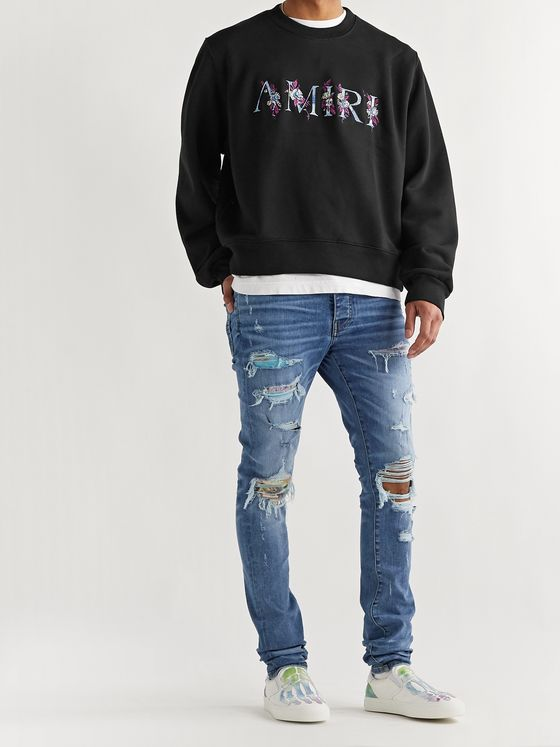 AMIRI Logo-Embroidered Loopback Cotton-Jersey Sweatshirt