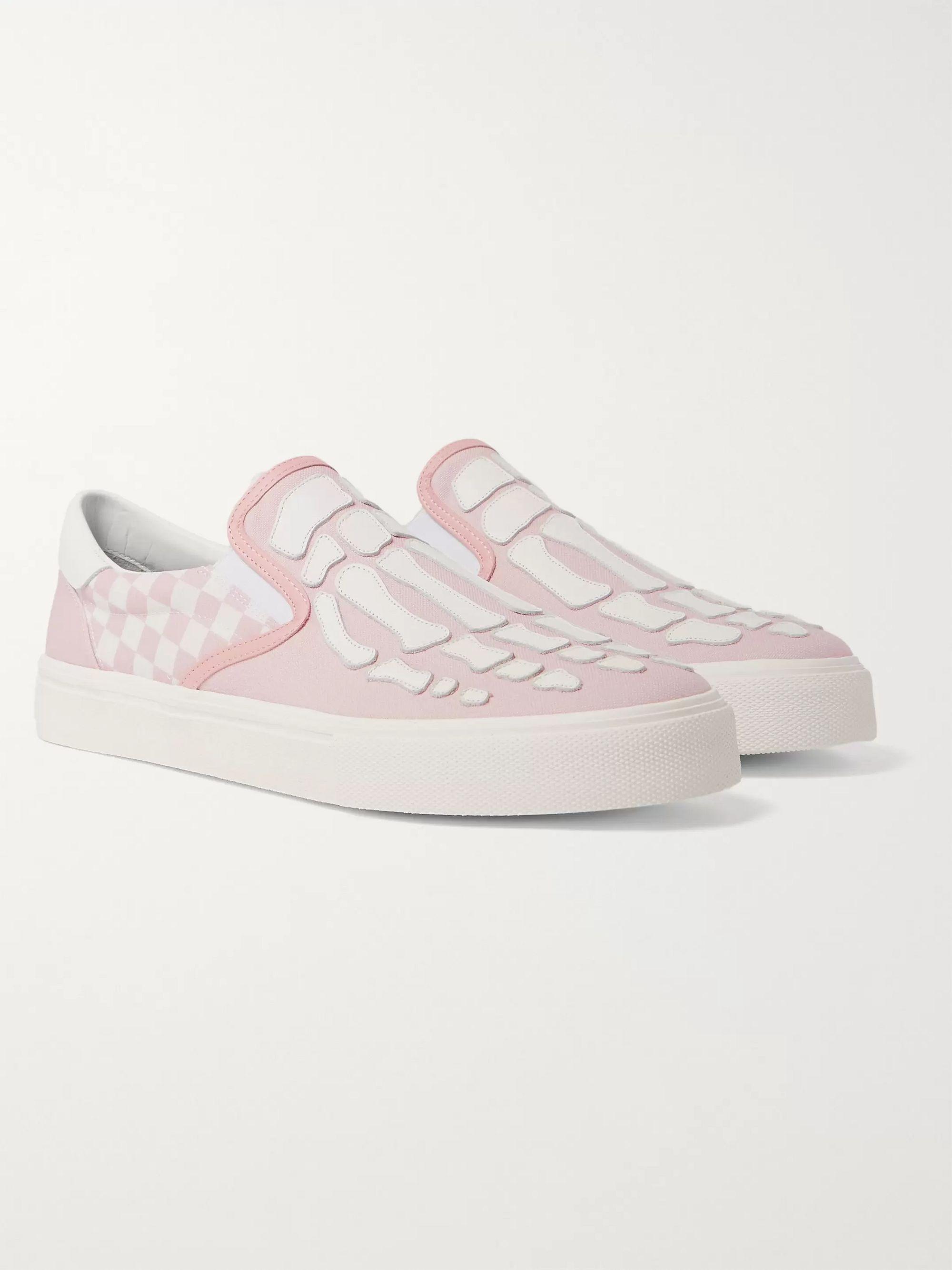 아미리 Amiri Skel Toe Leather-Appliqued Checked Canvas Slip-On Sneakers,Pink