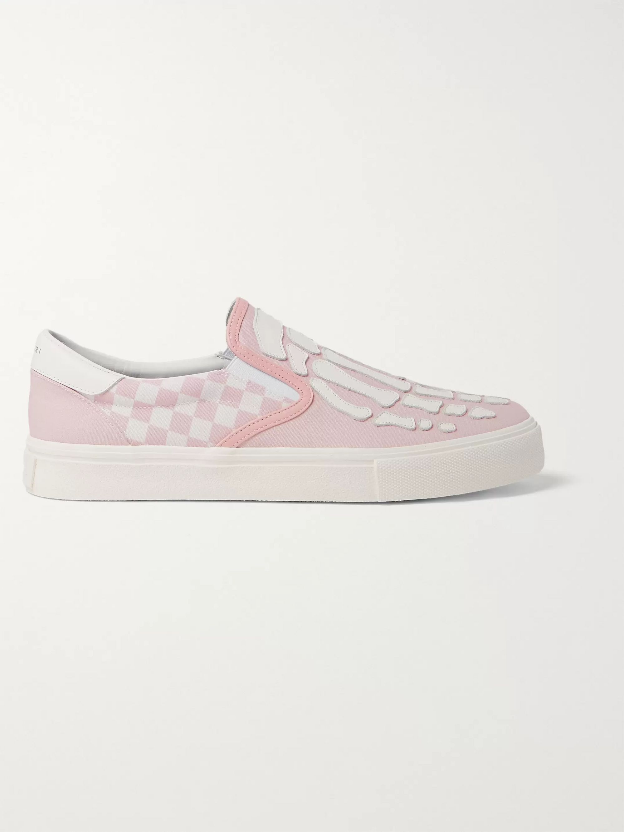 AMIRI Skel Toe Leather-Appliquéd Checked Canvas Slip-On Sneakers