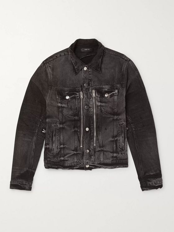 AMIRI Distressed Bandana-Print Denim Jacket