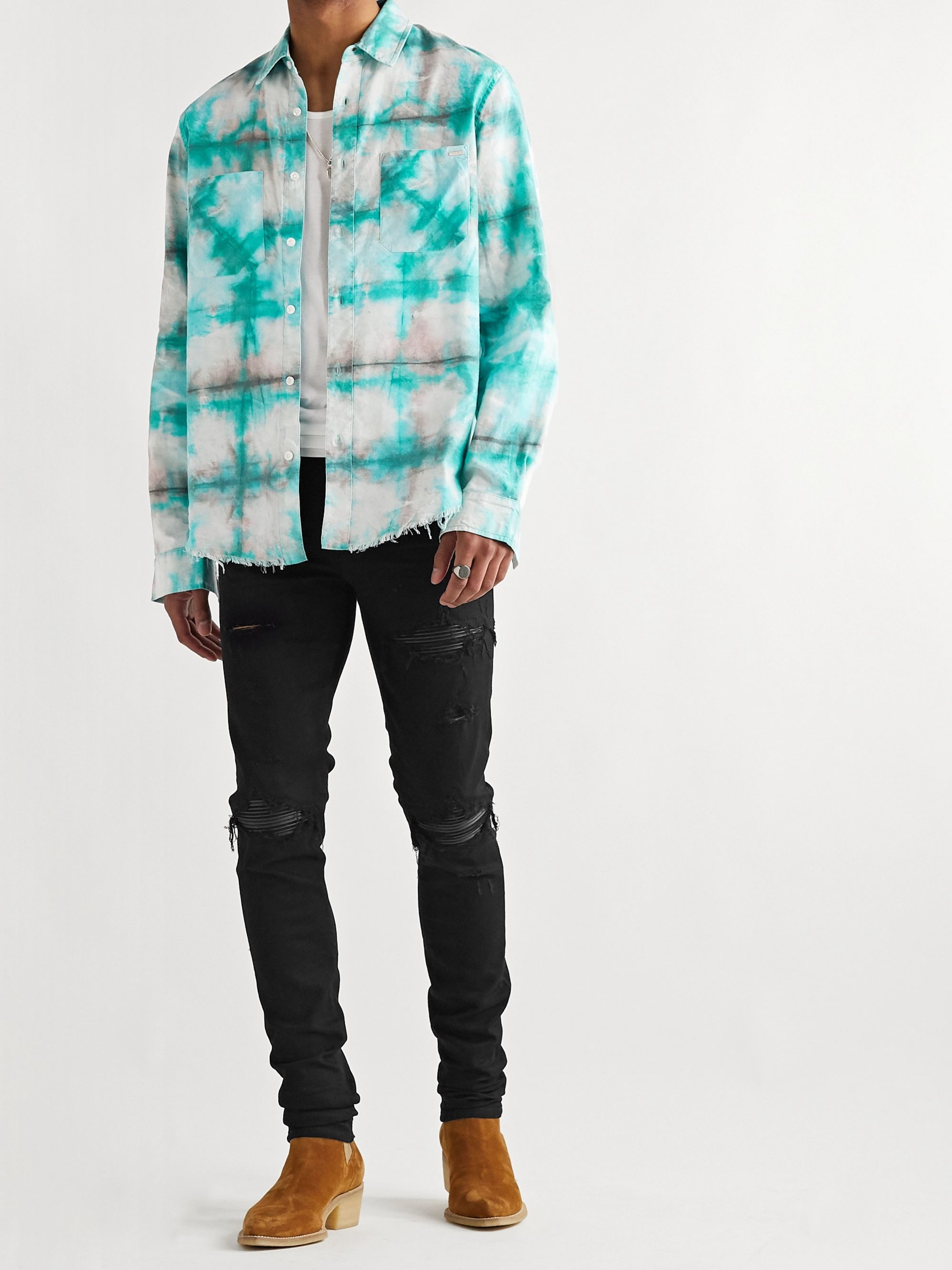 AMIRI Distressed Tie-Dyed Cotton-Flannel Shirt