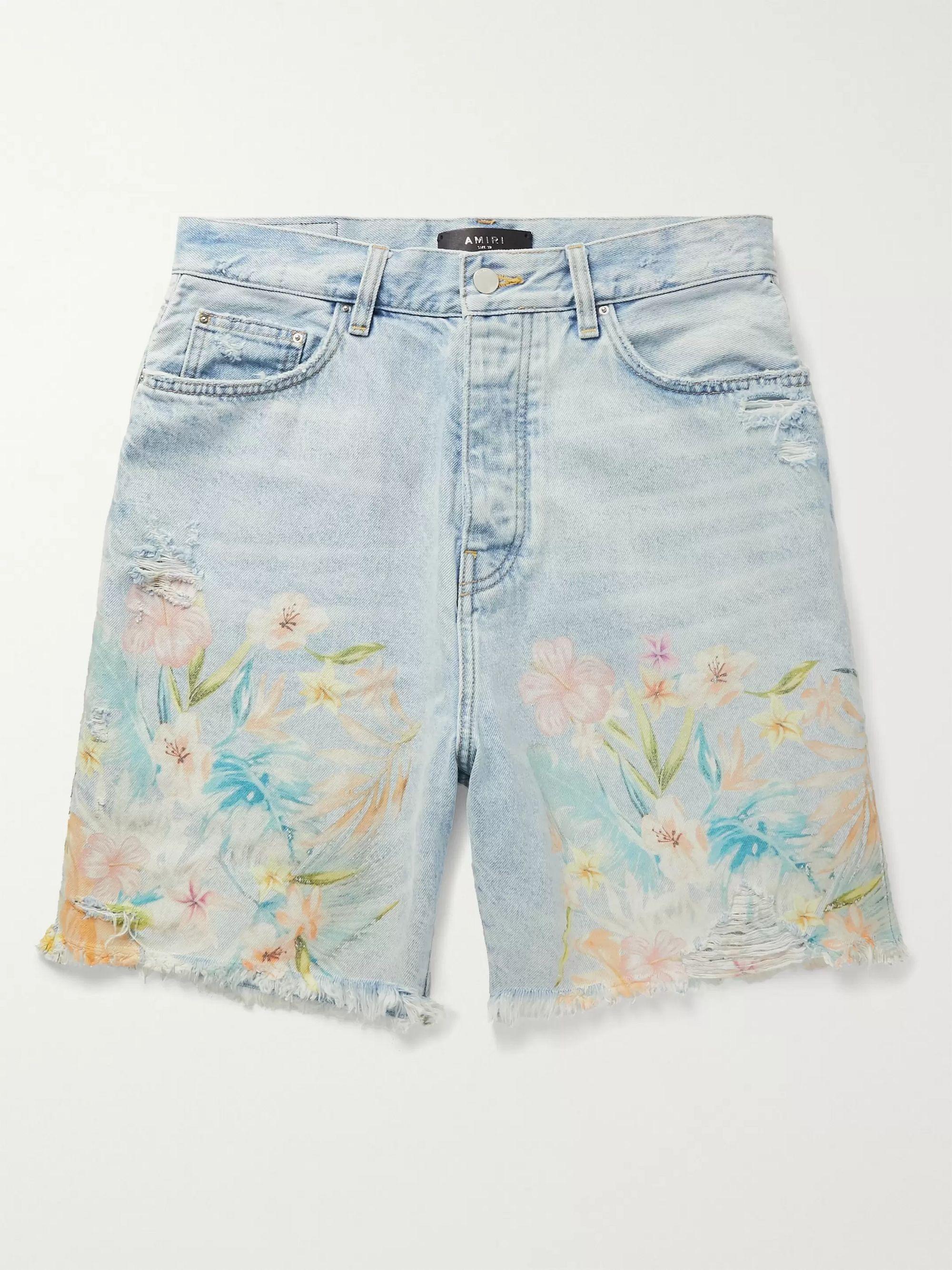 아미리 Amiri Distressed Floral-Print Denim Shorts,Light denim