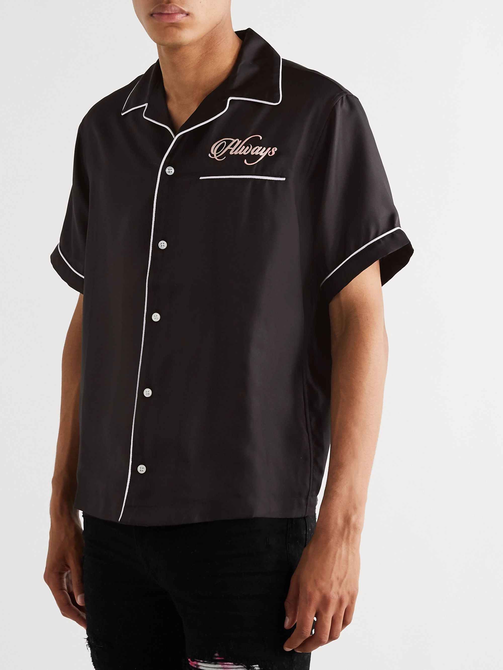 AMIRI Camp-Collar Embroidered Silk-Satin Shirt